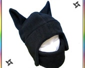 Ninja Neko Hat with Velcro Mask - Shinobi Shadows Cosplay Black Anime Ear Flaps Kitty Cat Hat Aviator Animal Warm Adult Teen Child Clothing