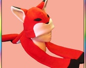 Red Fox Noms Plushie Hat - Antipill Fleece Anime Animal Ears Plush Scarf Kitsune Tail Cute Kawaii Cosplay Adult Teen Child Geek Clothing