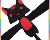 Striped Kitty Plushie Hat - Fleece Black Red Anime Animal Ears Plush Scarf Tail Cute Kawaii Cosplay Geek Neko Cat Ears Adult Teen Child Warm