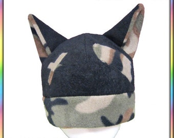 Boo-Boo Kitty Hat - Camo Black Anime Fleece Cosplay Cat Ears Geek Camoflauge Earthy Warm Bandaid Neko Beanie Funny