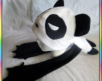 Panda Noms Plushie Hat - Antipill Fleece Black White Anime Warm Scarf Plush Bear Cute Kawaii Ears Cosplay Beanie Animal Adult Child Teen