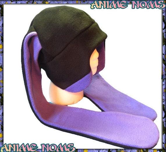 Long-Ear Purple Aviator Bunny Hat - Fleece Black Anime Earflaps Goth Punk Dance Winter Warm Usagi Violet Raver Easter Cosplay Rabbit Ears