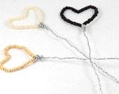 Beaded Heart Bookmarks or Plant Decor Set of Three