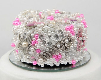 Vintage Brooch Wedding Cake Topper in Hot Pink Ready to Ship