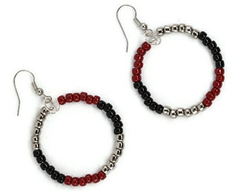 Hoop Earrings in Red Black and Silver Beaded Color Block Circles
