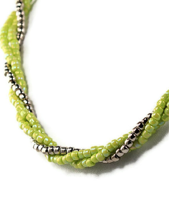 Bright Chartreuse Triple Strand Necklace