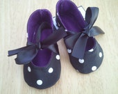 black with white polka dots baby girl shoes