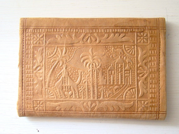vintage tan embossed leather wallet, desert scene with camel and rider