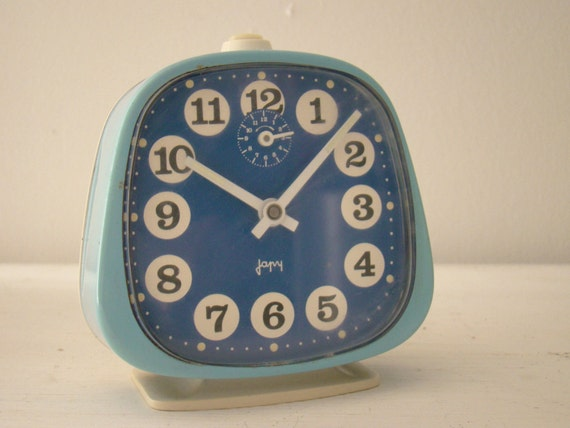 "retro blue french wind up alarm clock ""japy"""