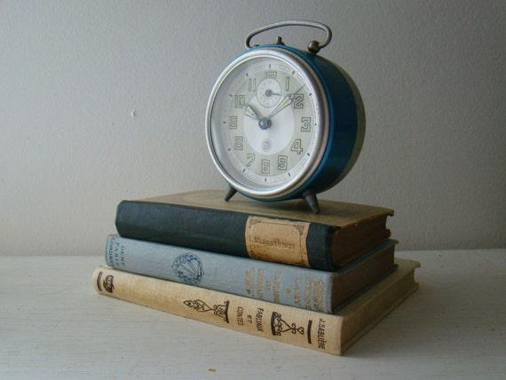 vintage blue french SMI alarm clock