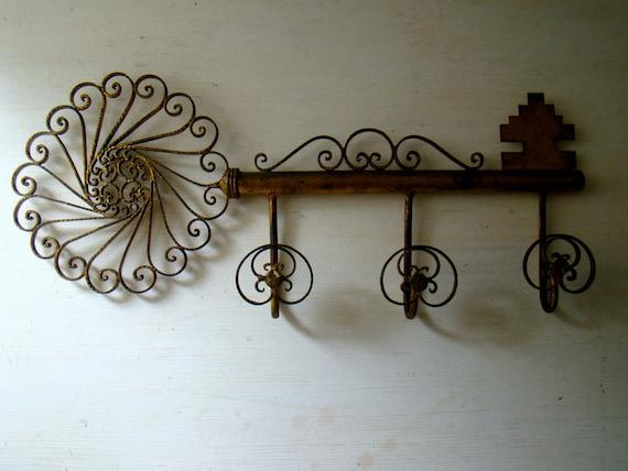 skeleton key coat rack with 3 hooks, vintage french