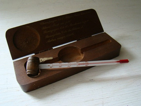 vintage french thermometer for wine connoisseurs in original wooden box