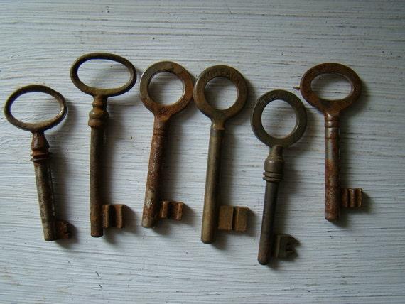 assortment of six antique skeleton keys
