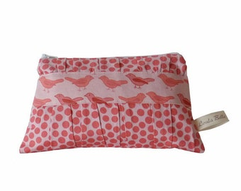 LESS than HALF PRICE! Large Cosmetic Bag with a Gathered Front - Little Birds in Pink