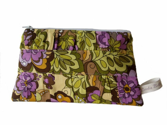 LESS than HALF PRICE Large Cosmetic Bag with a Gathered Front - Funky Floral (Purple)