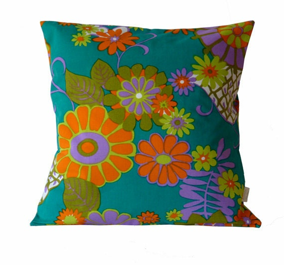 SALE: Flower Power Cushion in reclaimed vintage fabric