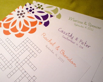 NEW Modern Bloom - Custom Crossword Puzzle - Perfect for weddings, rehearsal dinners and showers