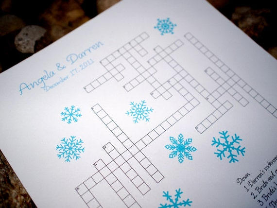 Custom Crossword Puzzle - Winter Snowflake - Perfect for weddings, rehearsal dinners and showers