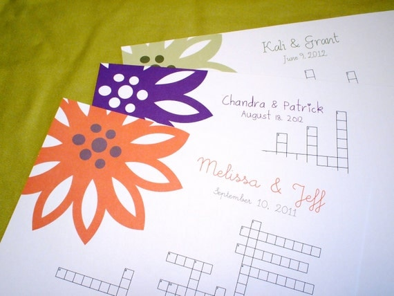 NEW Modern Flower - Custom Crossword Puzzle - Perfect for weddings, rehearsal dinners and showers