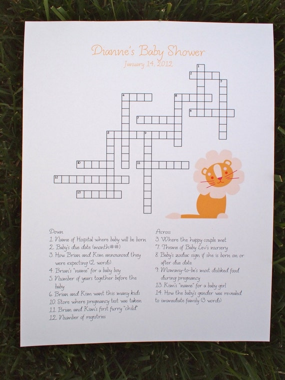 Custom Baby Shower Crossword Puzzle - Animal Kingdom Theme - Perfect for a baby shower or for a mother-to-be