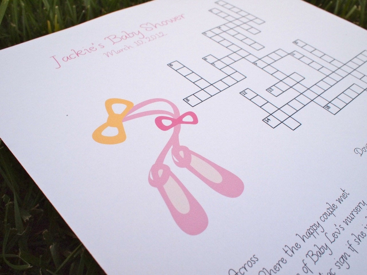 custom baby shower crossword puzzle ballet slippers