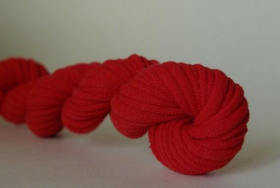 Patriots Red Upcycled T-Shirt Yarn (tarn), 20 yards, 8 WPI