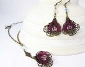 RESERVED for Joan - SALE - Purple Orchid Lucite Necklace Earrings Set, Swarovksi Teardrop Crystals, Brass Filigree Wrap, Tiny Skeleton Leaf