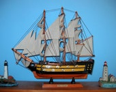 "Wooden Ship Model HMS VICTORY w/brass cannons 13"" Long"