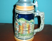 "West German Porcelain 8"" Pewter Lidded Stein HERRENCHIEMSEE CASTLE and more"