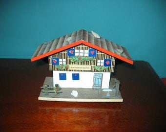 Vintage GERMAN Wooden Chalet BANK with KEY
