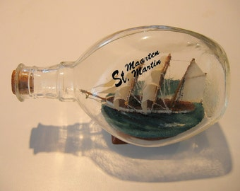 St. Maartin St. Martin Ship in a Bottle- THREE MASTER Wooden Ship Model