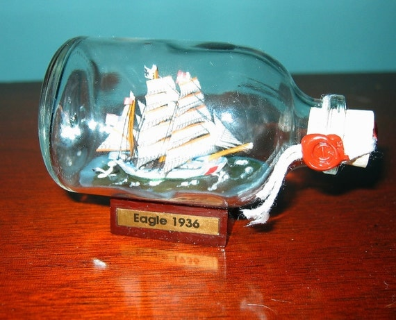 Ship in a Bottle- The US Coast Guard EAGLE Excellent with Stand