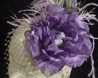 PURPLE Organza Flower FASCINATOR Headband, Holiday Gold Cage and Feathers by LasVegasVeils