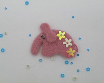 "Needle Felted Wool Elefant  ""Flower"""