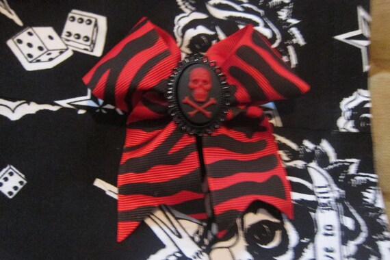 Red Zebra Skull and Crossbones