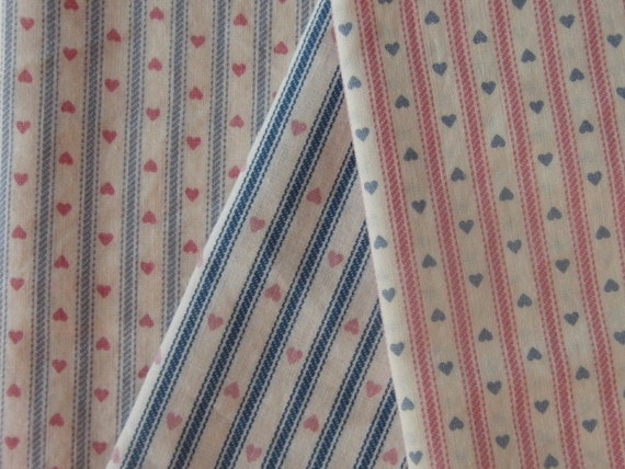 Vintage Railroad Stripes and Hearts Fabric Variety Pack in Pink and Blue