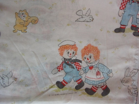 Shabby Chic Vintage Raggedy Ann and Andy Twin Flat Sheet