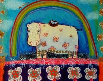 Hippo, bird, nest, rainbow/floral/cute - limited edition giclee/ animal art print