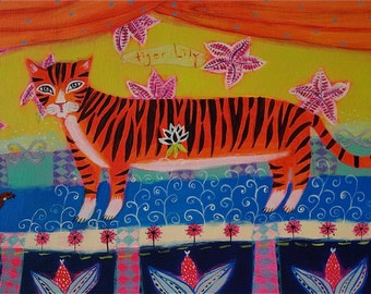 SALE Tiger on stage - Tiger Lily/flower/tiger art - limited edition giclee on paper/animal/kids wall art