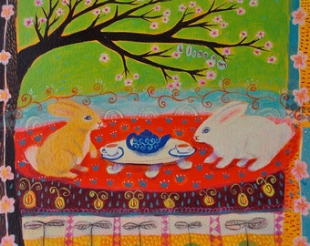 Blossom - rabbits in garden/tea/spring - limited edition giclee on paper/whimsical/animal art print