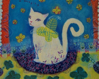 Imagine - white cat and clover - limited edition giclee/whimsical animal art print