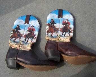 Vintage 1960's childs cowboy boots must see very colorful