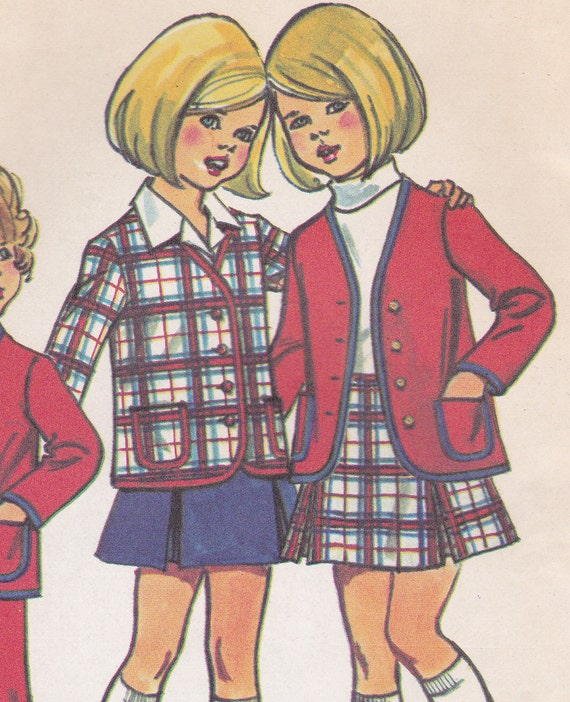 70's Sewing Pattern Simplicity 5278 Child Cardigan Jacket Bell-Bottom Pants Pleated Skirt Uniform Size 4 Breast 23 Uncut Complete