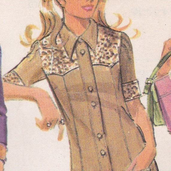 70's Sewing Pattern McCall's 2509 Miss Sheath Dress Button Front Wing Collar Western Size 16 Bust 38 COMPLETE Uncut
