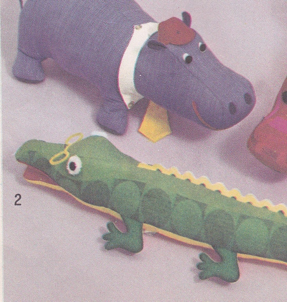 70's Sewing Pattern Simplicity 5778 Stuffed Animals Hippo Dolphin Alligator Complete Uncut