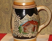 "Vintage Austria Stein, Wien Stephan'sdom Castle, Raised Chalets, Original King 3 no.715, 4.75""H"