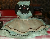Vintage Mammy Toaster Cover, 1949, Aqua Checked w Double Rick Rack, Button Eyes, Ring Earrings