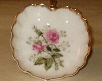 "Vintage Trinket Dish, Porcelain w Flowers 3""L, Lovely Shape, Gold Trims, Perfect Gift"