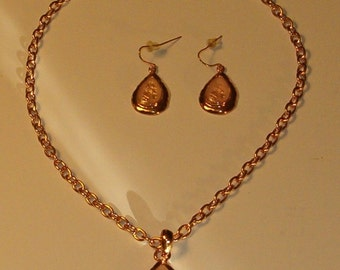 Vintage KC Earrings & Necklace, Pink Glow Stones
