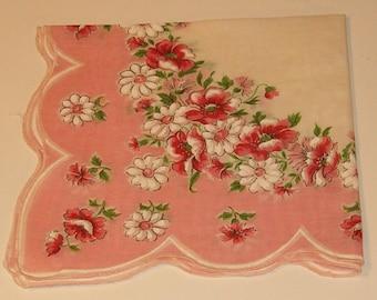 """Pink Flower Handkerchief, Cotton 12""""sq"""